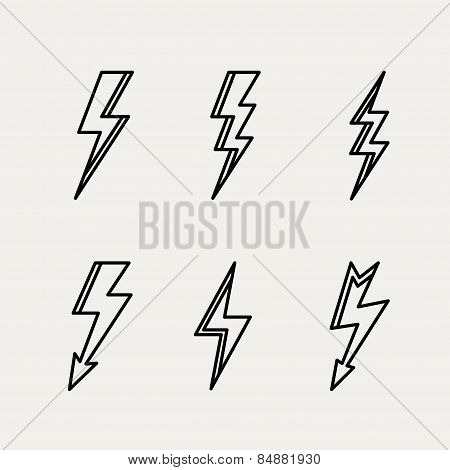 Lightning icon minimal linear contour outline style vector illustration
