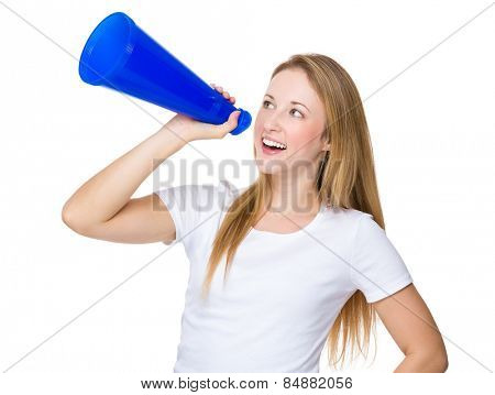 Caucasian woman yell with megaphone