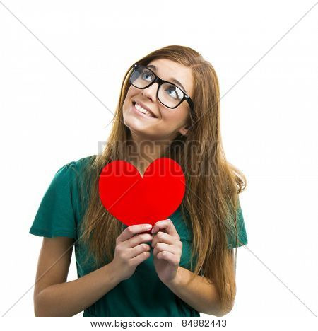 Happy and young woman in love