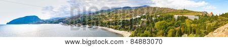 Panorama southern coast of Crimea, Ayu-Dag, Alushta