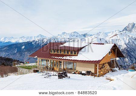 Restaurant in the Caucasus mountains, ski resort