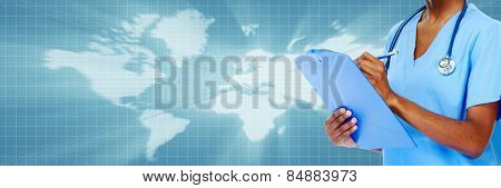 Medical physician doctor hands. Healthcare background banner.