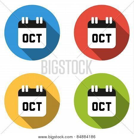 Collection Of 4 Isolated Flat Colorful Buttons For October (calendar Icon)