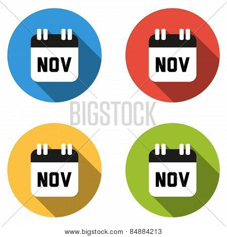 Collection Of 4 Isolated Flat Colorful Buttons For November (calendar Icon)