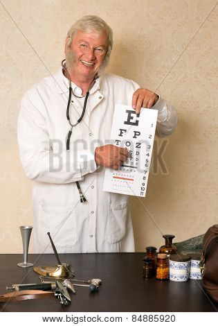 Vintage doctor doing an eye test with letters