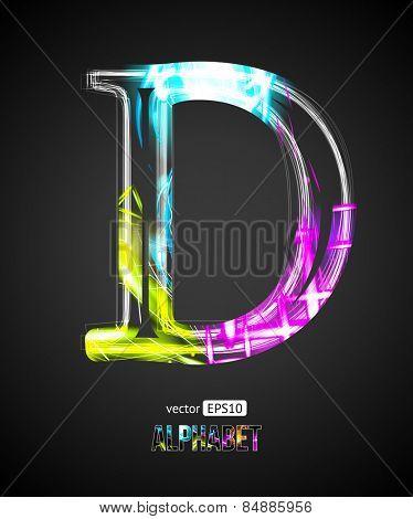Vector Design Light Effect Alphabet. Letter D on a Black Background.