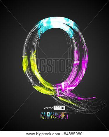 Vector Design Light Effect Alphabet. Letter Q on a Black Background.