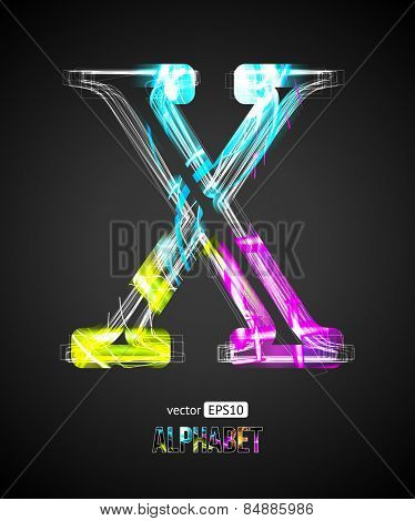 Vector Design Light Effect Alphabet. Letter X on a Black Background.