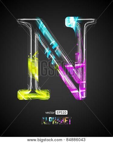 Vector Design Light Effect Alphabet. Letter N on a Black Background.