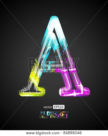 Vector Design Light Effect Alphabet. Letter A on a Black Background.