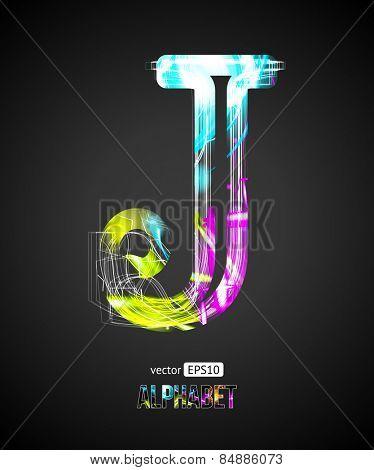 Vector Design Light Effect Alphabet. Letter J on a Black Background.