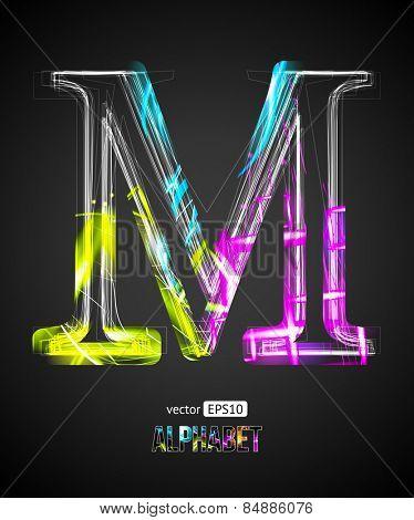 Vector Design Light Effect Alphabet. Letter M on a Black Background.