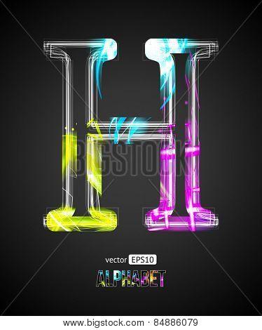 Vector Design Light Effect Alphabet. Letter H on a Black Background.