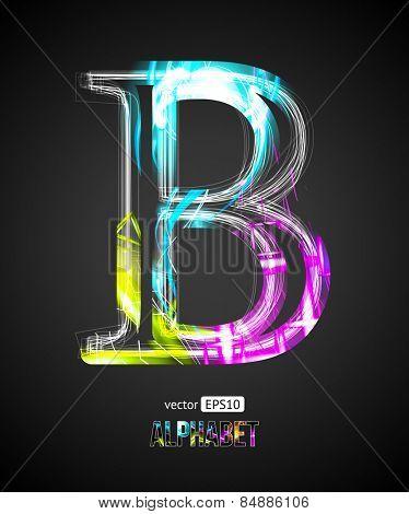 Vector Design Light Effect Alphabet. Letter B on a Black Background.