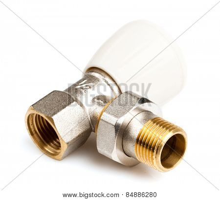 Valve water for radiator on white background