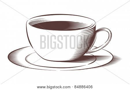 Vector illustration of coffee cup and saucer in engraved style