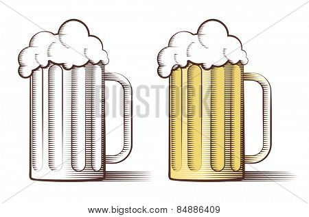 Vector illustration of two beer glasses in engraved style