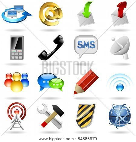 Communication and internet icons set isolated on white background.