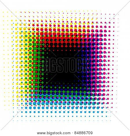 halftone square black background