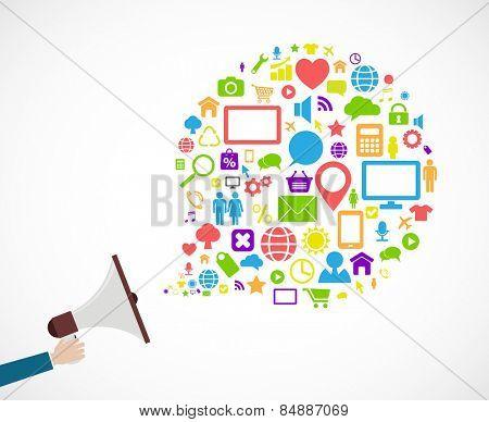 loudspeaker social media icon concept design
