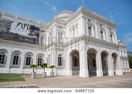 SINGAPORE - JANUARY 26, 2015: National Museum of Singapore is located in a historic building. Founded in 1848, the museum has grown from a personal collection and the library of Sir Stamford Raffles.