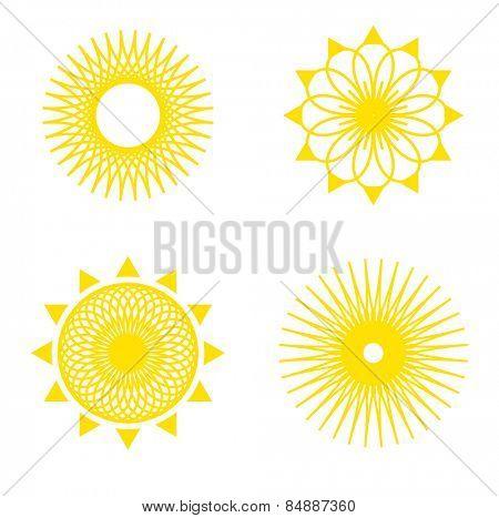 sun pattern icon set yellow