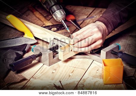 closeup of carpenter work with  tools