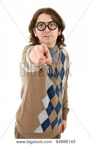 geek man pointing isolated on white background