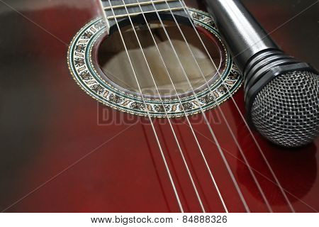 Dark Guitar And Microphone