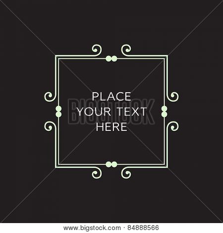 Vector Frame. Geometric Line Design Style for Hipster Art. Art Deco Monogram and Emblem Elements. Copy Space for Text.
