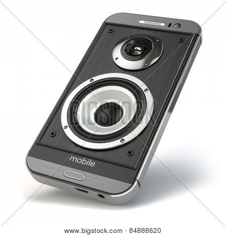 Musical smartphone.Mobile phone music app. Cellphone and loudspeakers. 3d