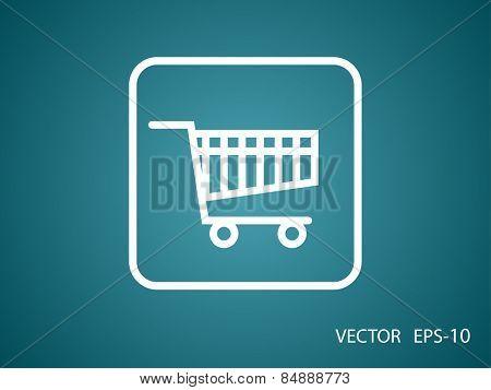 Flat icon of shopping cart