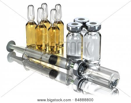 Medicine concept. Syringe and ampoules or vials isolated on white. 3d