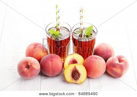 glass of fruit iced tea - food and drink