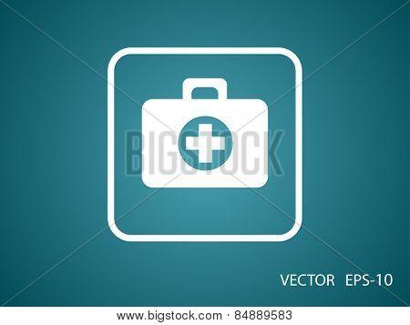 Flat icon of ambulance bag