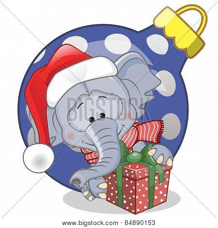 Elephant In A Santa Hat