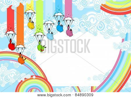 Cute card with playful rainbow monsters (raster version)