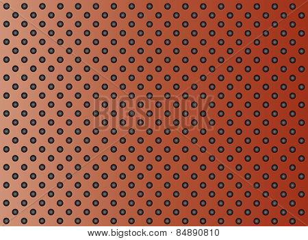 Concept conceptual brown abstract metal stainless steel aluminum perforated pattern texture mesh background as metaphor to industrial, abstract, technology, grid, silver, grate, spot, grille surface