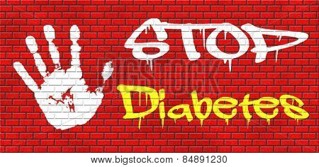 stop diabetes eat less sugar go on a diet and eat healthy prevention graffiti on red brick wall, text and hand