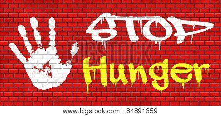 stop hunger suffering malnutrition starvation and famine caused by food scarcity undernourished bad harvest aid graffiti on red brick wall, text and hand