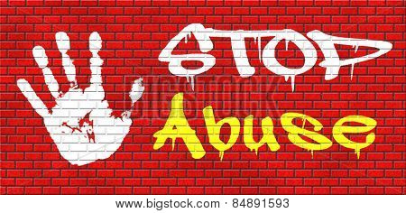 stop abuse child protection prevention from domestic violence and neglection end abusing children graffiti on red brick wall, text and hand