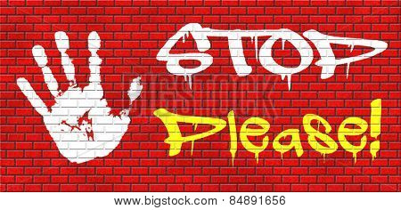please stop no more enough graffiti on red brick wall, text and hand