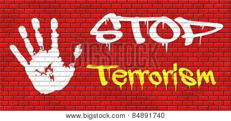 stop terrorism war on terror no terrorist attacks graffiti on red brick wall, text and hand
