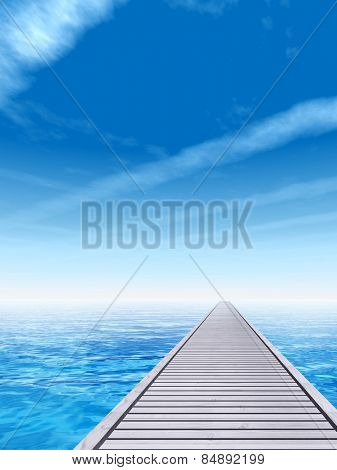 Concept or conceptual old wood or wooden deck pier on coast of exotic blue clear sea, ocean waves vacation or tourism sky background, metaphor to travel, summer, tropical, relax, resort or lifestyle