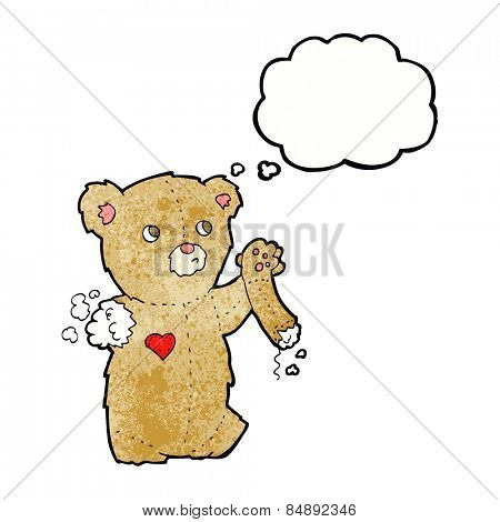 cartoon teddy bear with torn arm with thought bubble