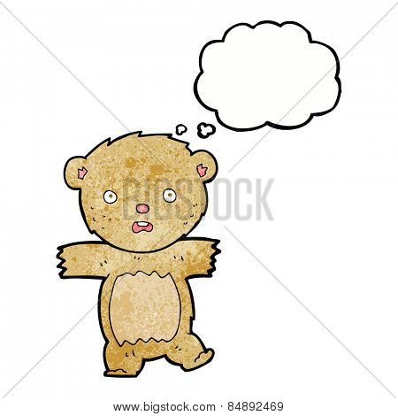 cartoon shocked teddy bear with thought bubble