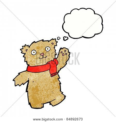 cartoon waving teddy bear