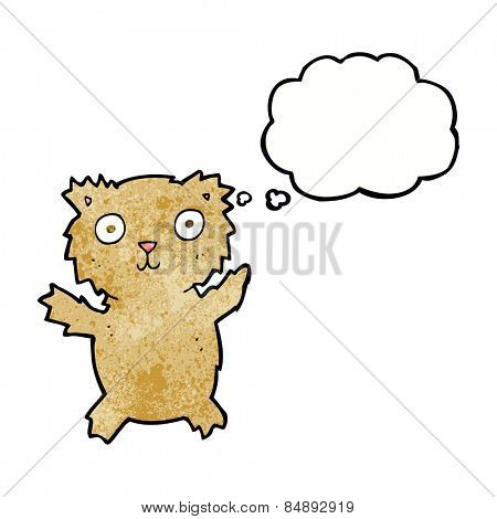cartoon teddy bear with thought bubble