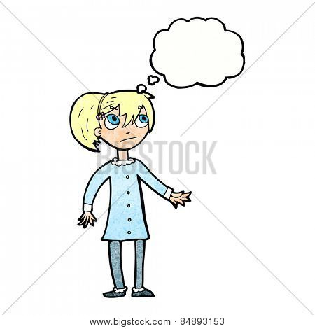 cartoon worried girl with thought bubble