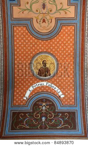 TRAVNIK, BOSNIA AND HERZEGOVINA - JUNE 11: Blessed Peter Faber, fresco on the ceiling of the church of St. Aloysius in Travnik, Bosnia and Herzegovina on June 11, 2014.